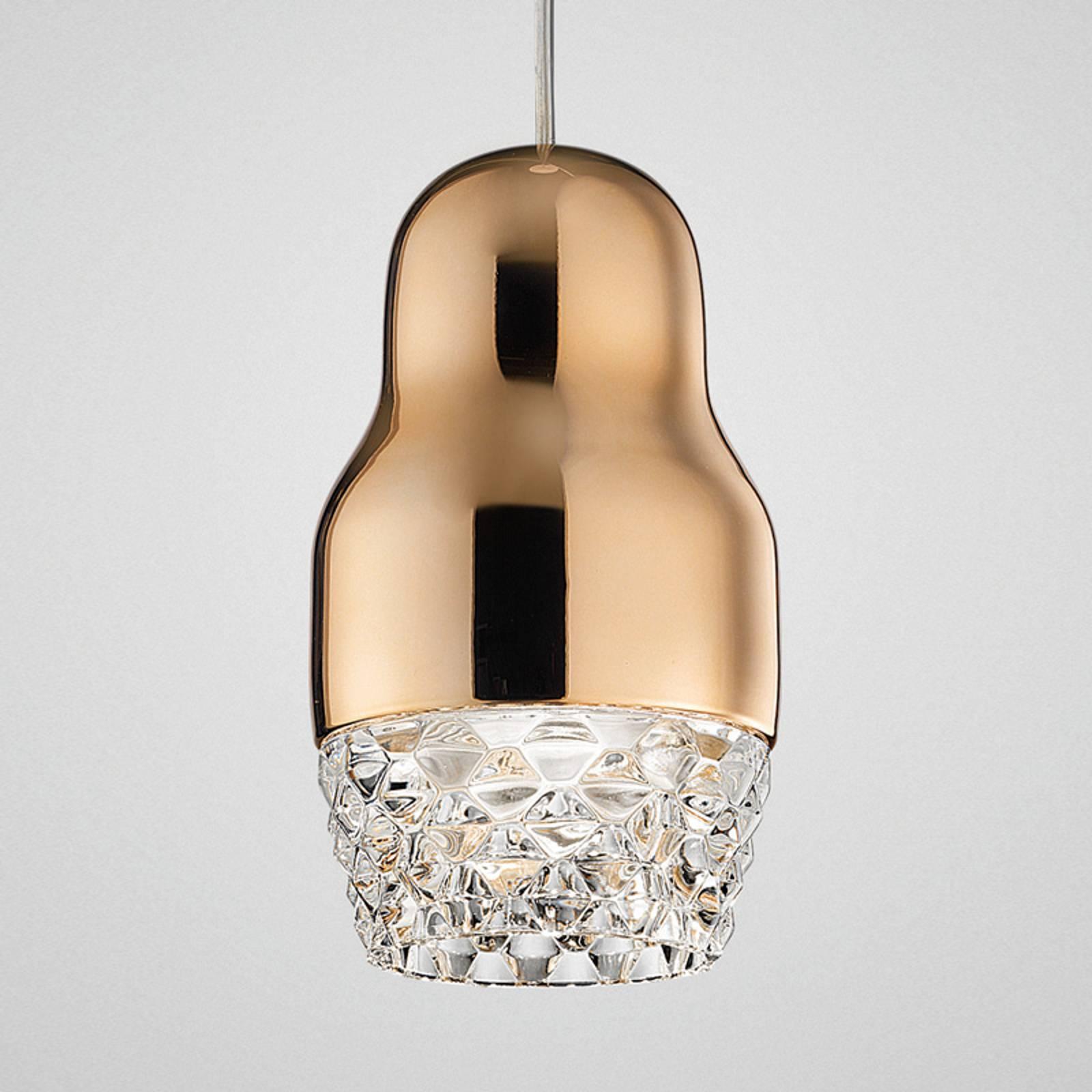 1-punktowa lampa wisząca LED Fedora różowe złoto