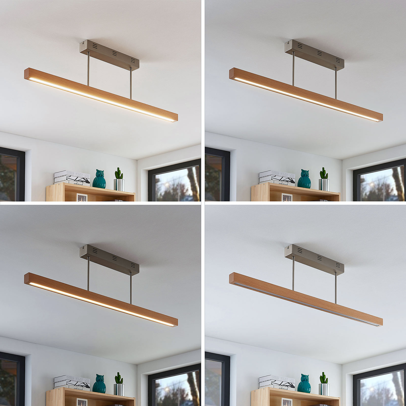 Plafonnier LED Tamlin en bois, hêtre, 100cm