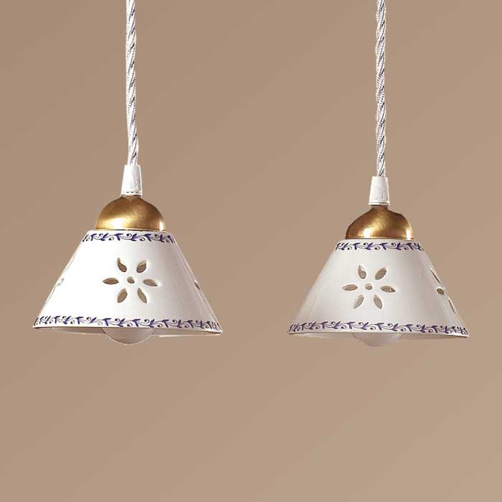 Suspension 2 lampes NONNA en céramique blanche