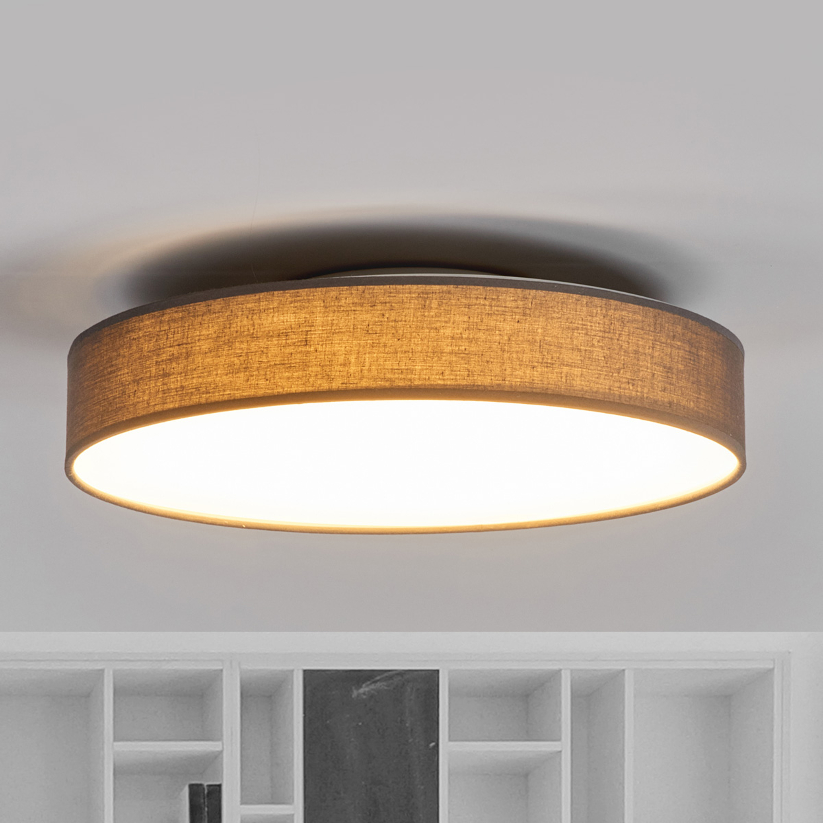 Stoffen LED-plafondlamp Saira, 40 cm, grijs