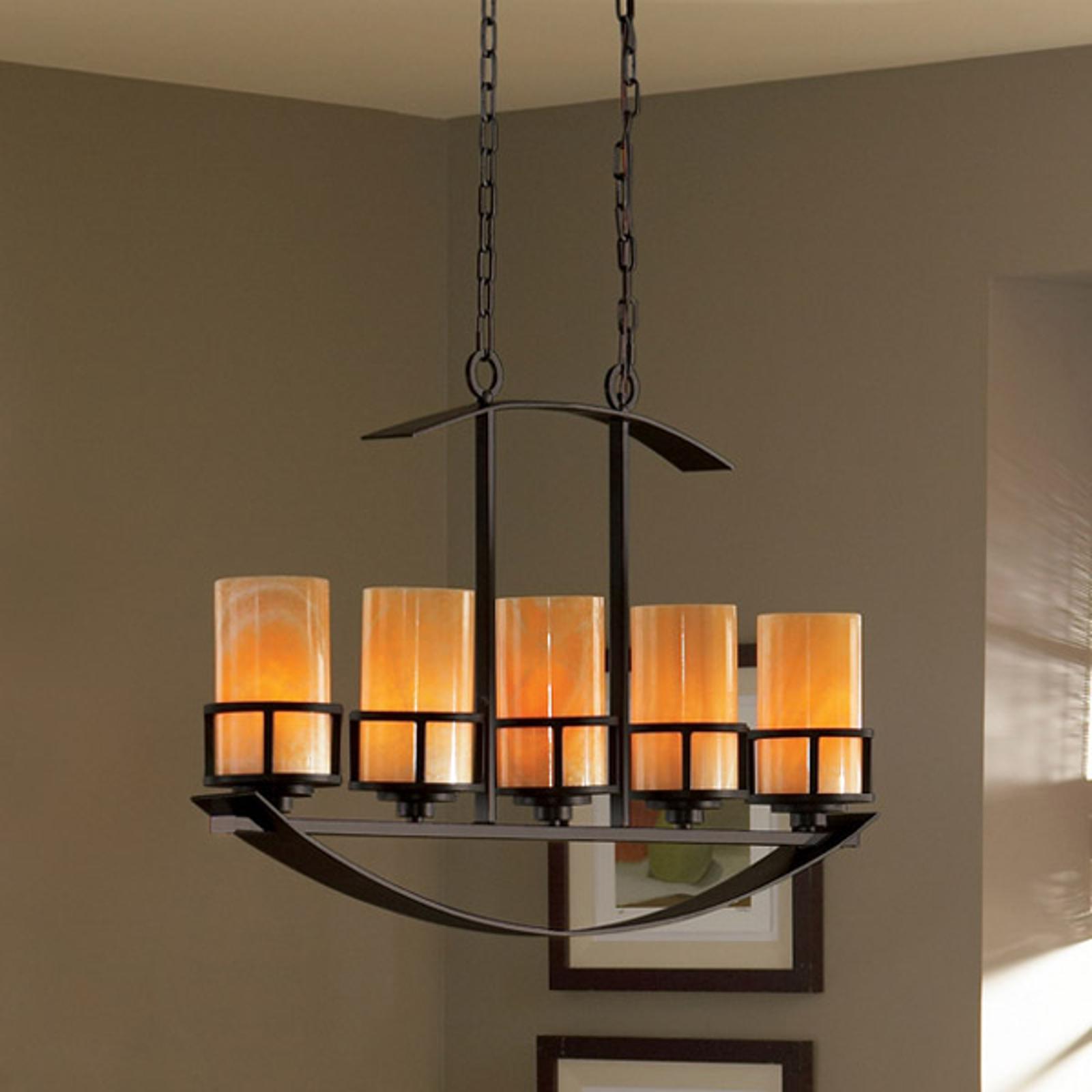Lange hanglamp Kyle m. 5 onyx-kappen