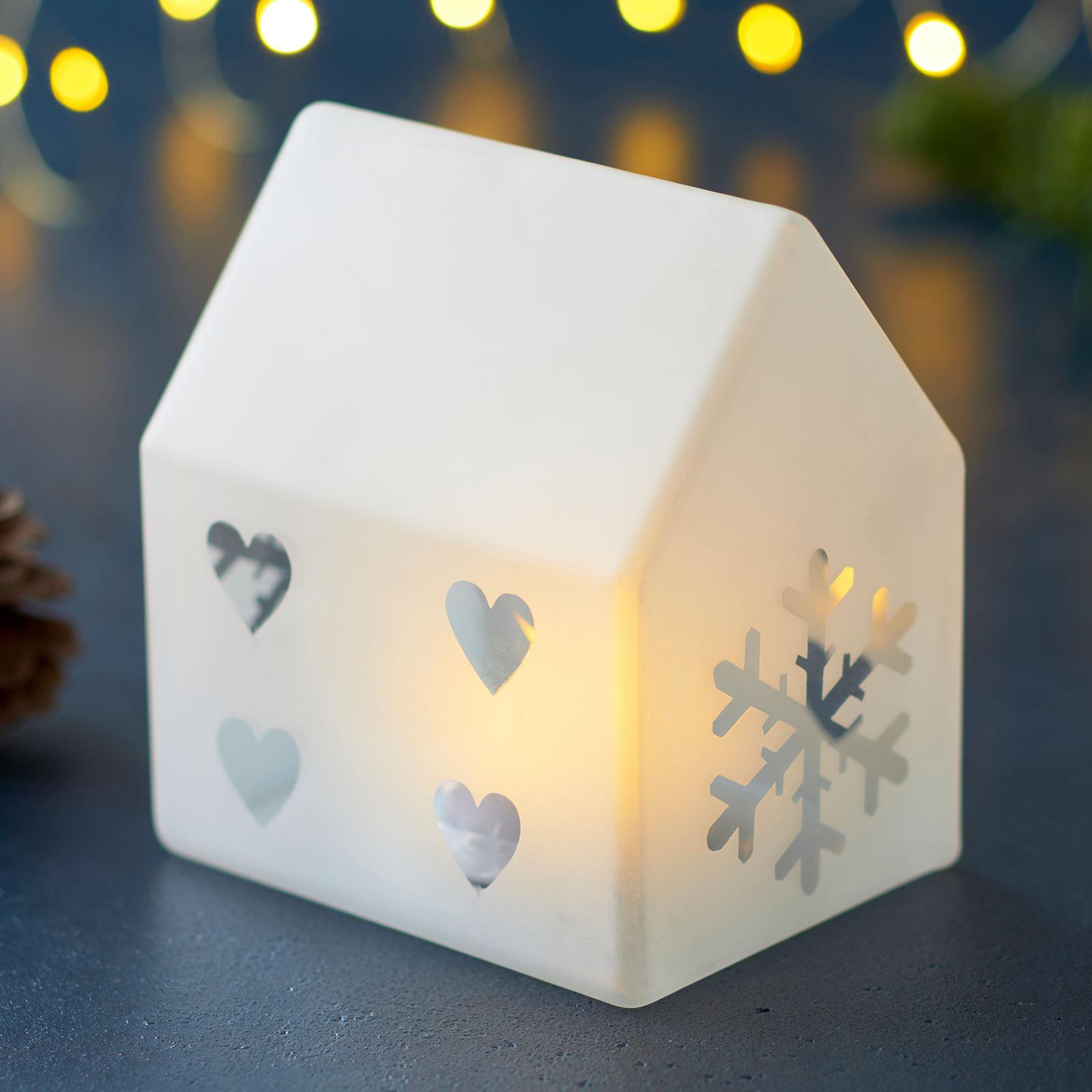 Lampada decorativa LED Santa House, alta 11,5 cm