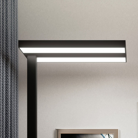 LED office floor lamp Logan in black, dimmable