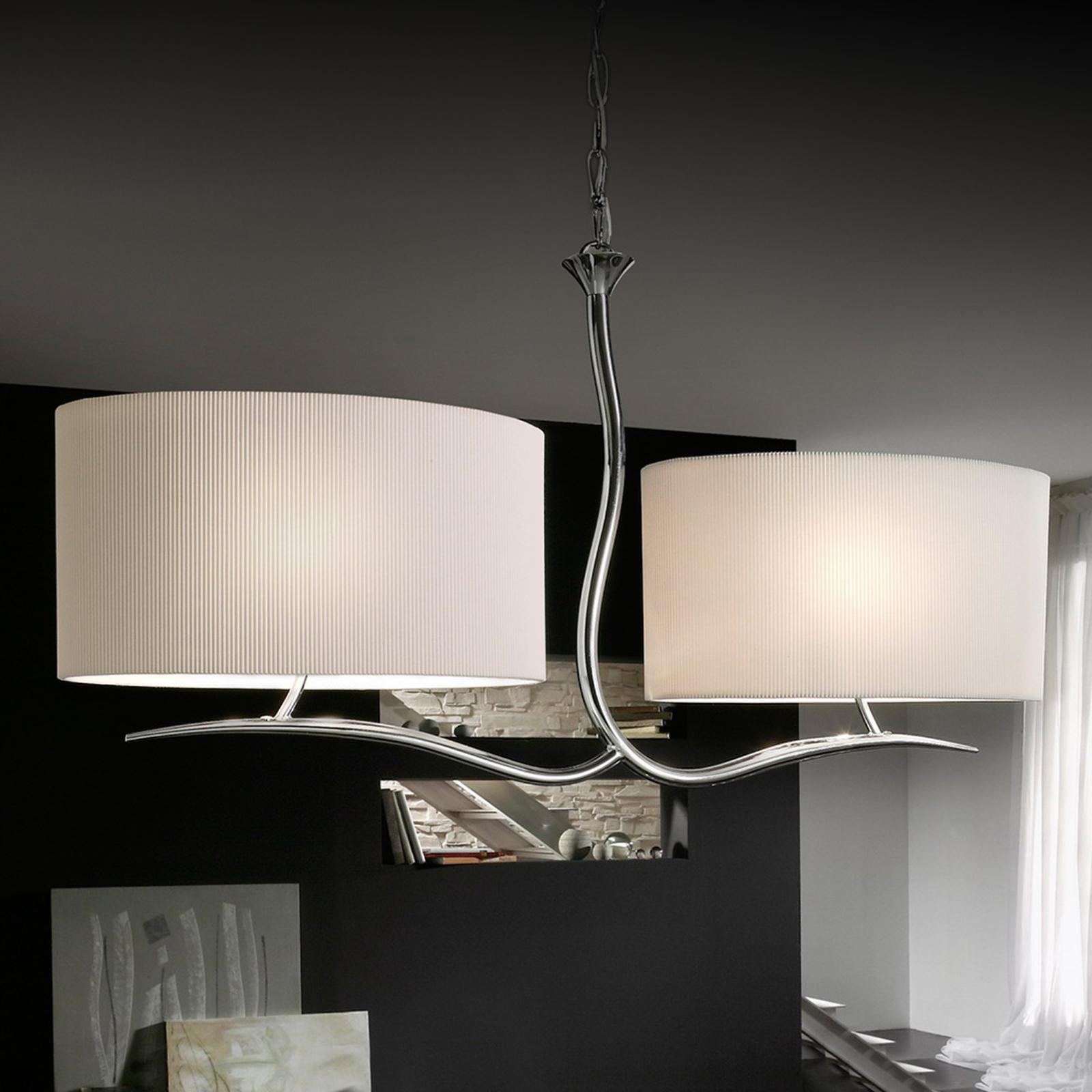 Hanglamp Eve m wit textiel lampenkap m 2 lampjes