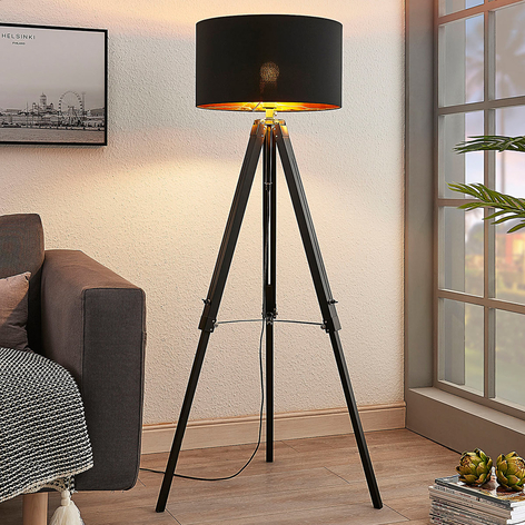 Tripod vloerlamp Triac met houten frame, zwart