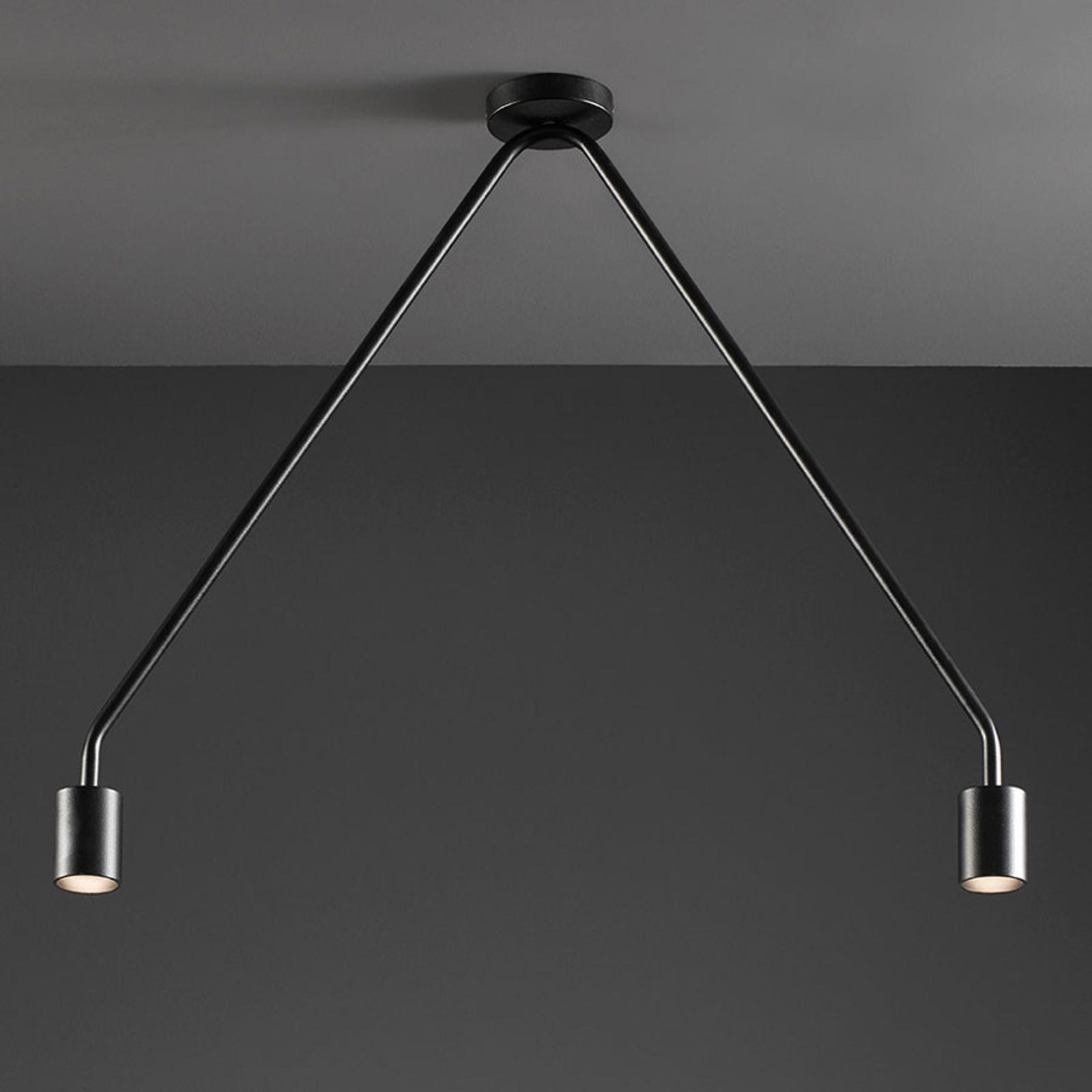 LED plafondlamp Caos in zwart, 2-lamps