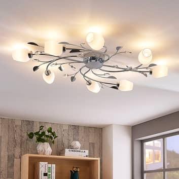 Verchroomde plafondlamp Freda met acht lampen