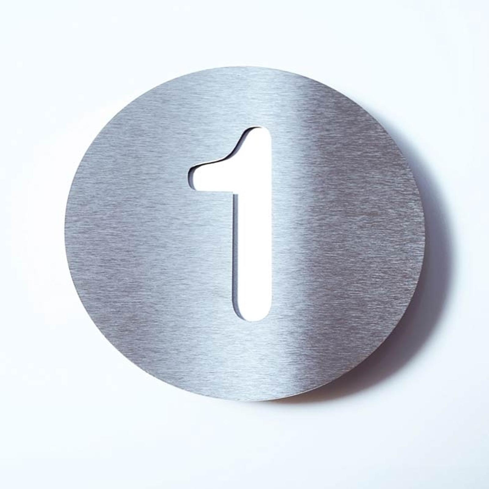Husnummer Round av rostfritt stål - 1