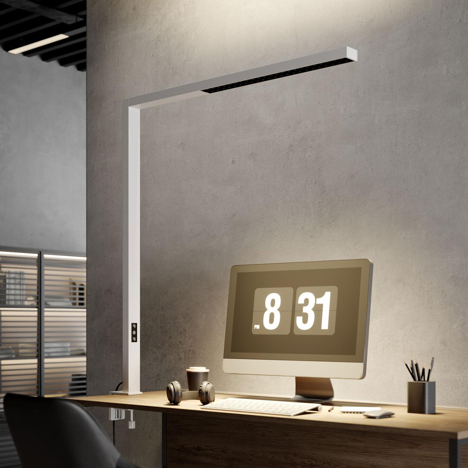 Arcchio Jolinda LED-klemmelampe til kontor, hvid