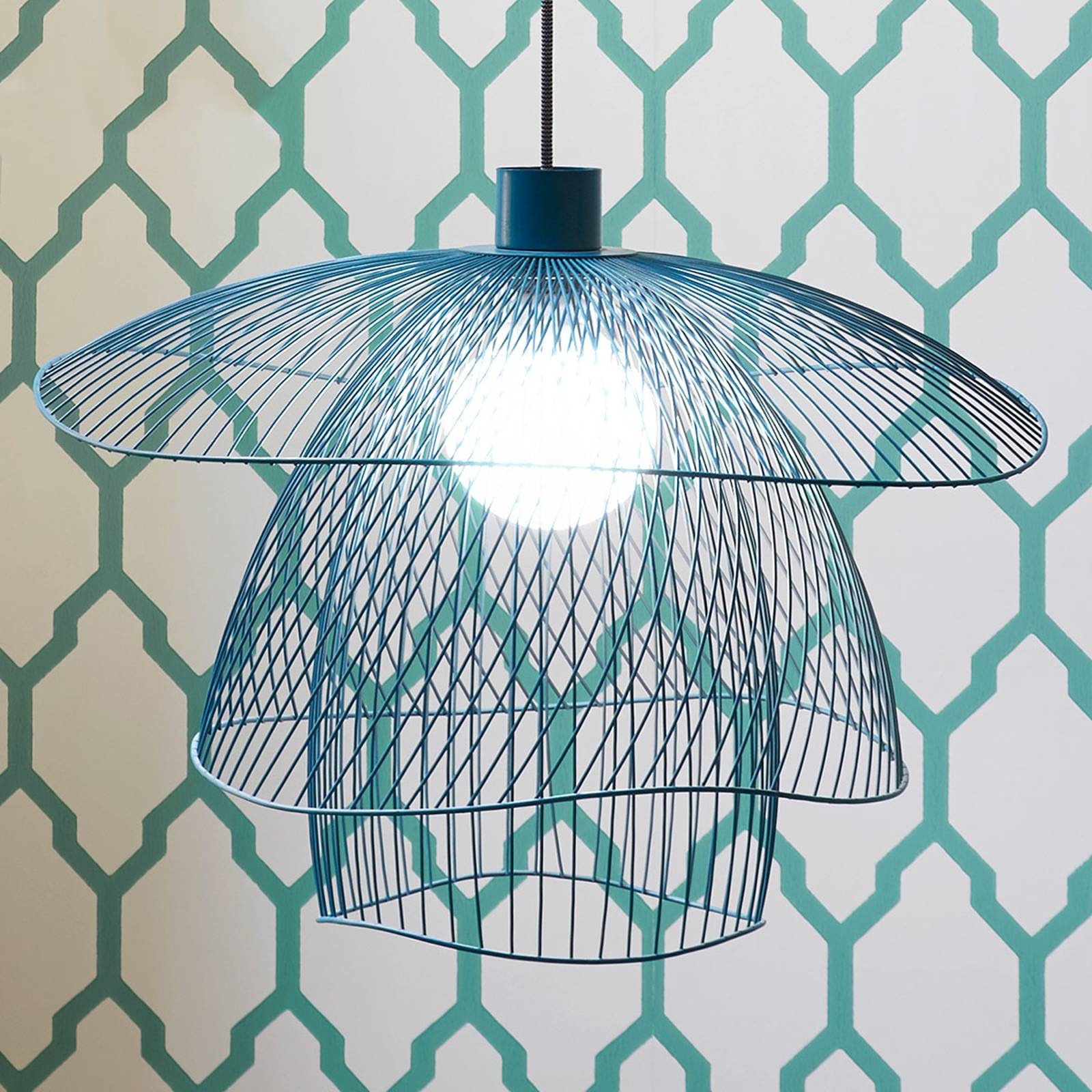 Forestier Papillon S lampa wisząca 56 cm niebieska
