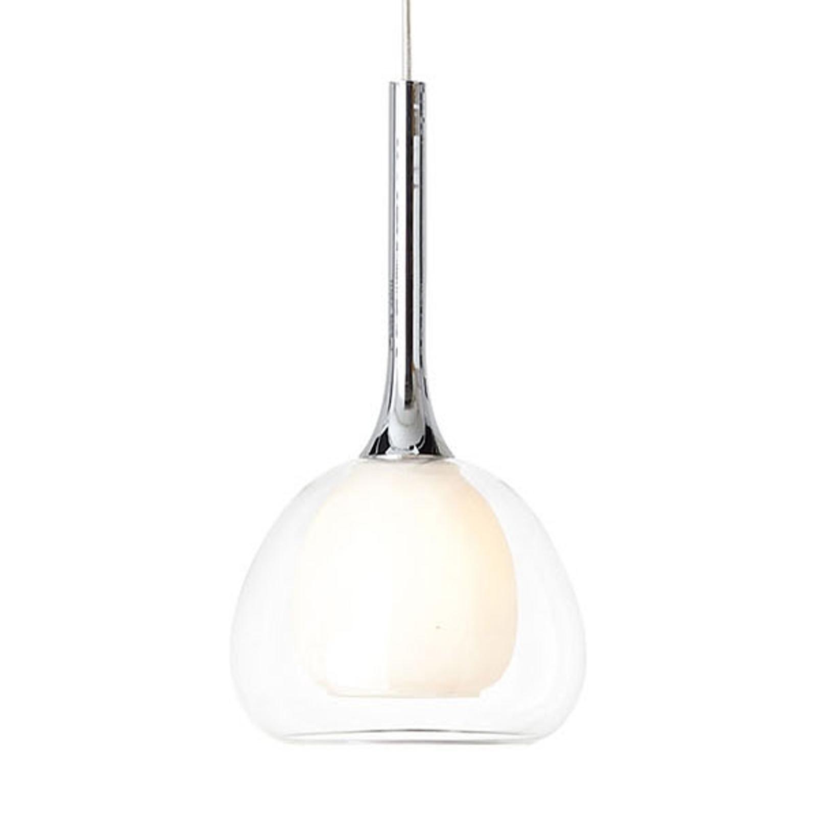 Hanglamp Hadan, 1-lamps glas wit/transparant