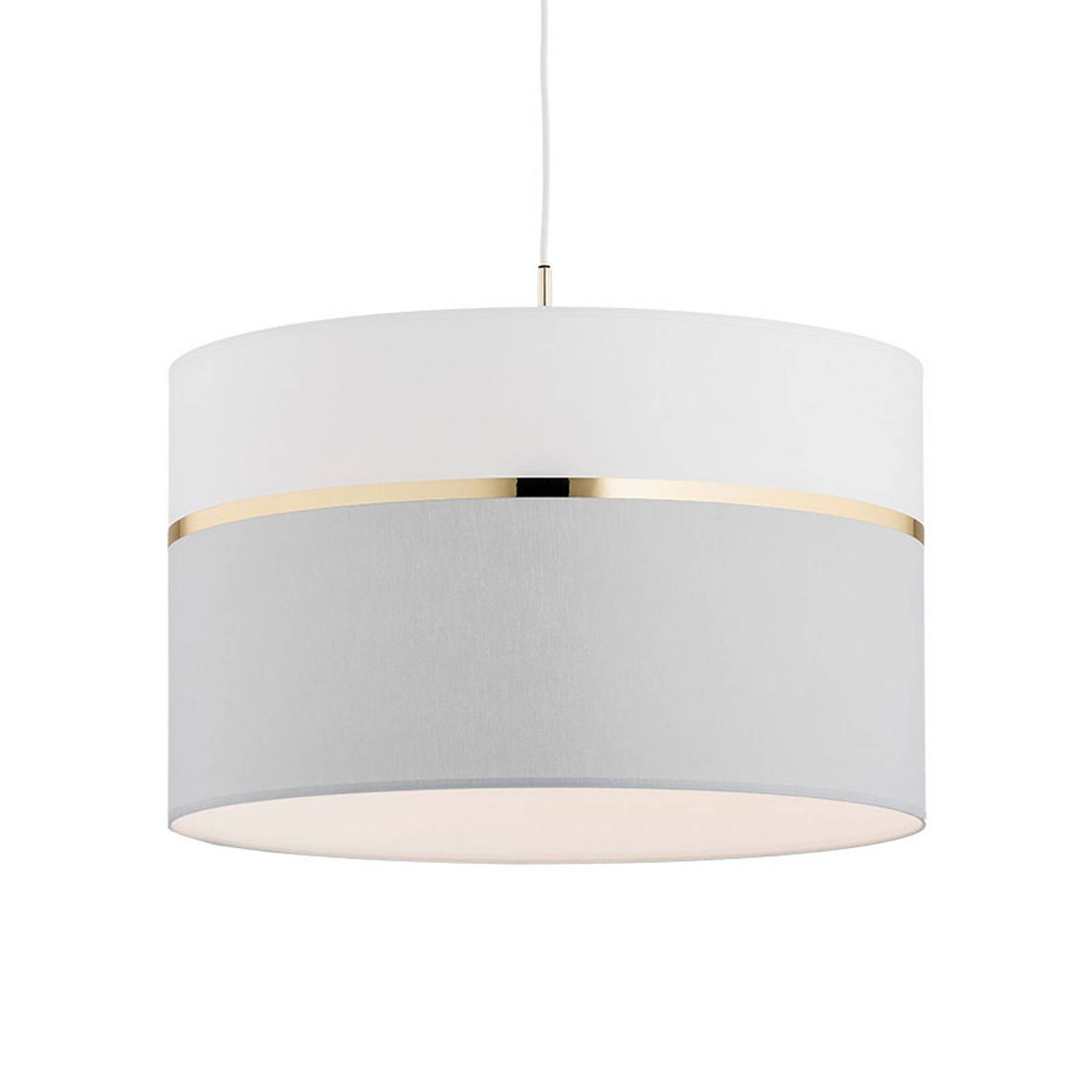Suspension en tissu Long 1 lampe blanc/gris/laiton
