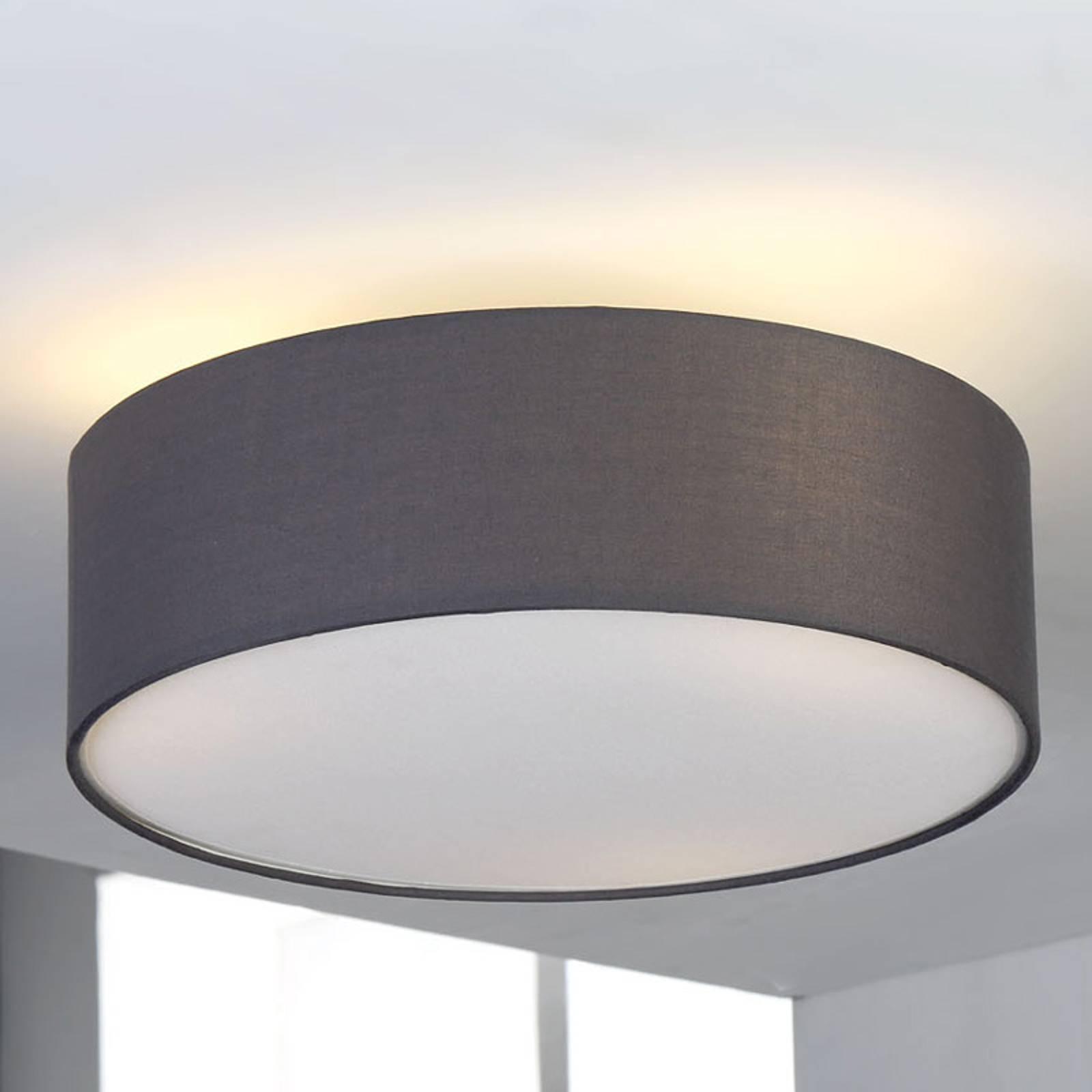 Jasnoszara lampa sufitowa SEBATIN z materiału