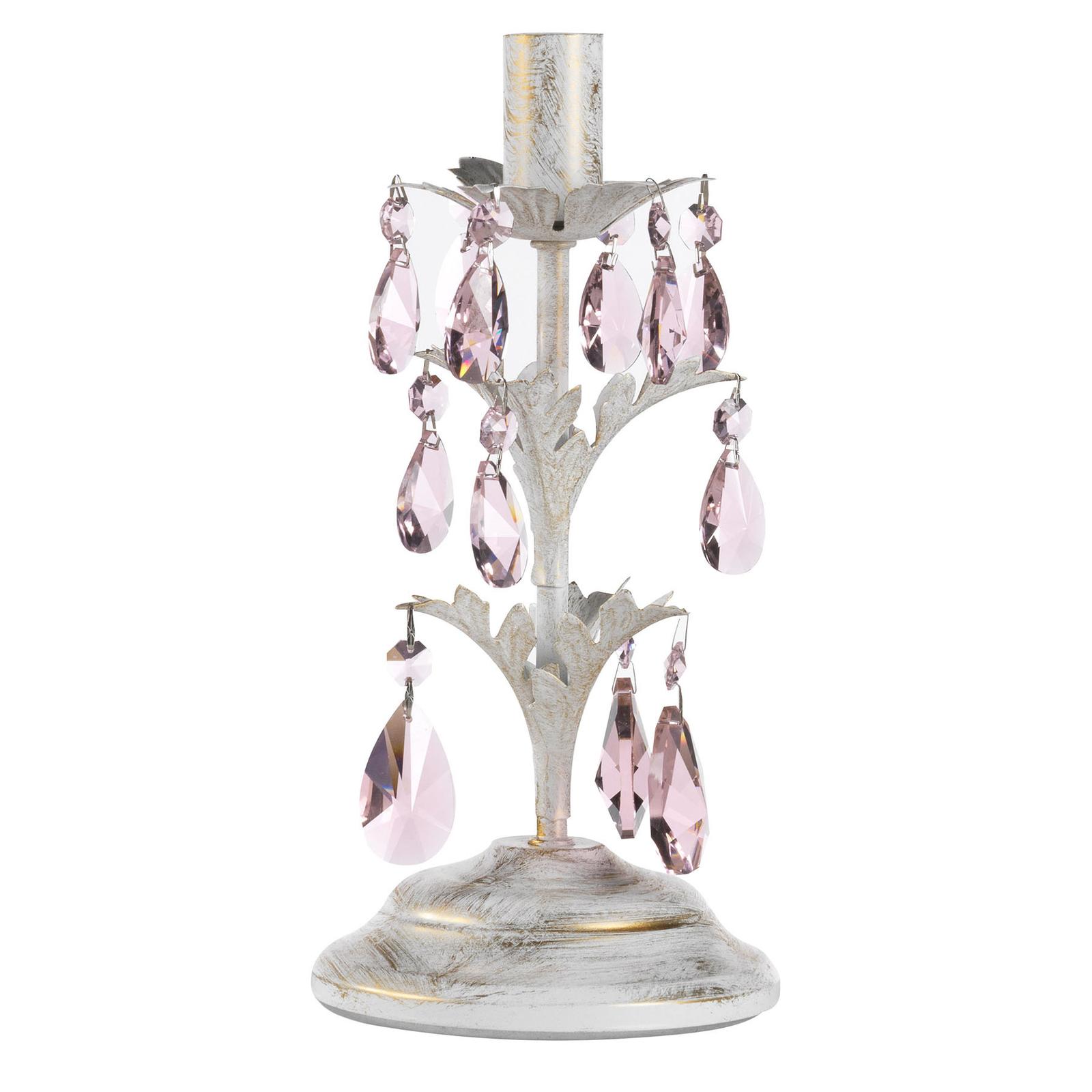 Lampa stołowa Kate biała z różowymi kryształami