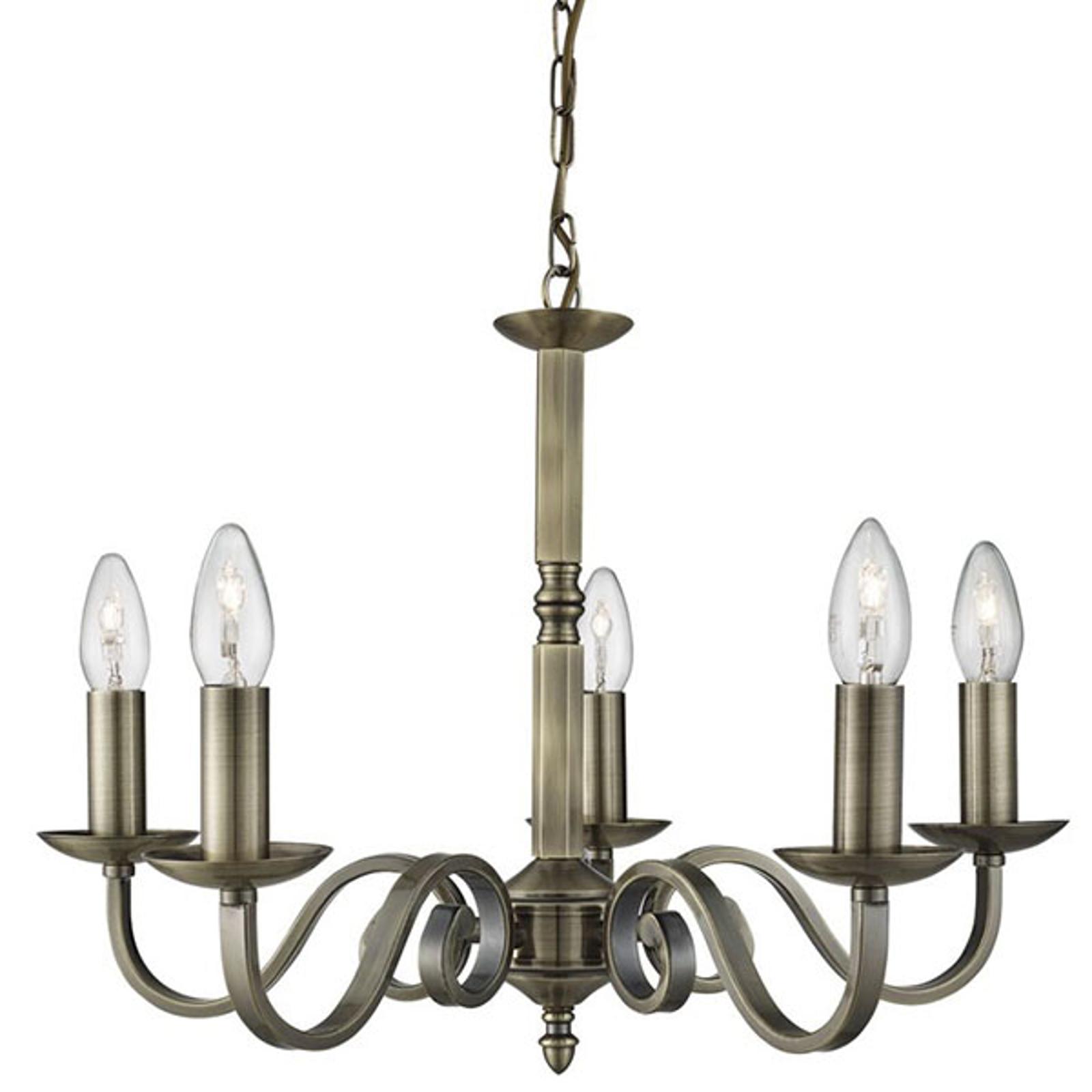 Lampadario Richmond ottone anticato, 5 luci