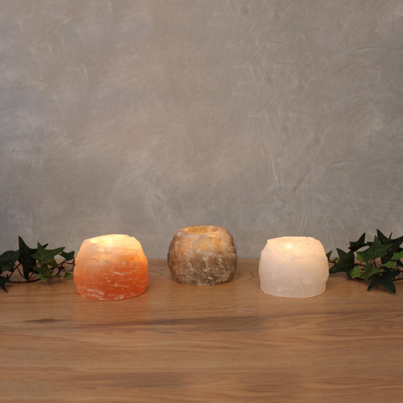 Teelichthalter-Set Rock Trio aus Salzkristall