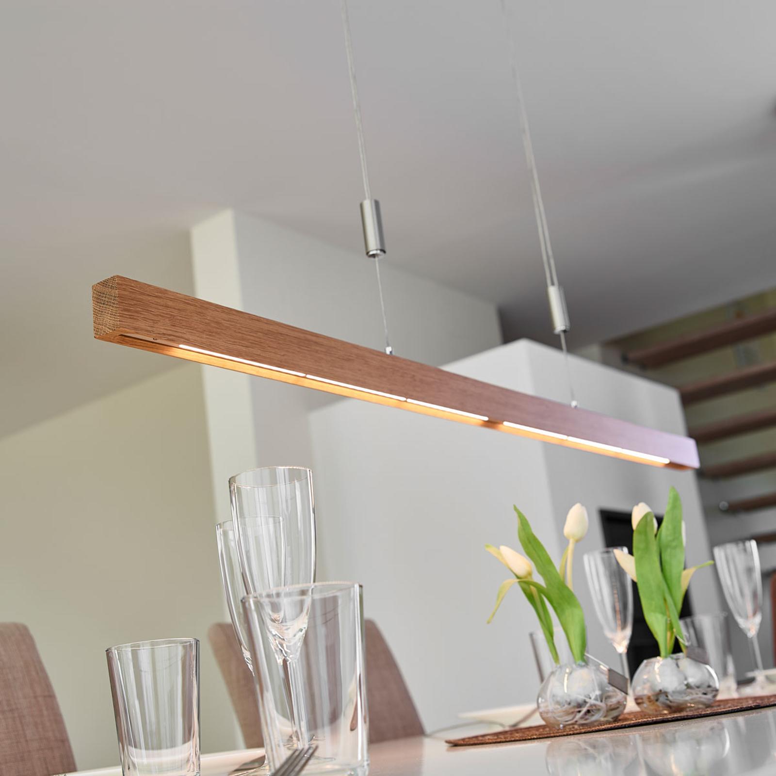 Suspension LED en chêne Nora, dimmable