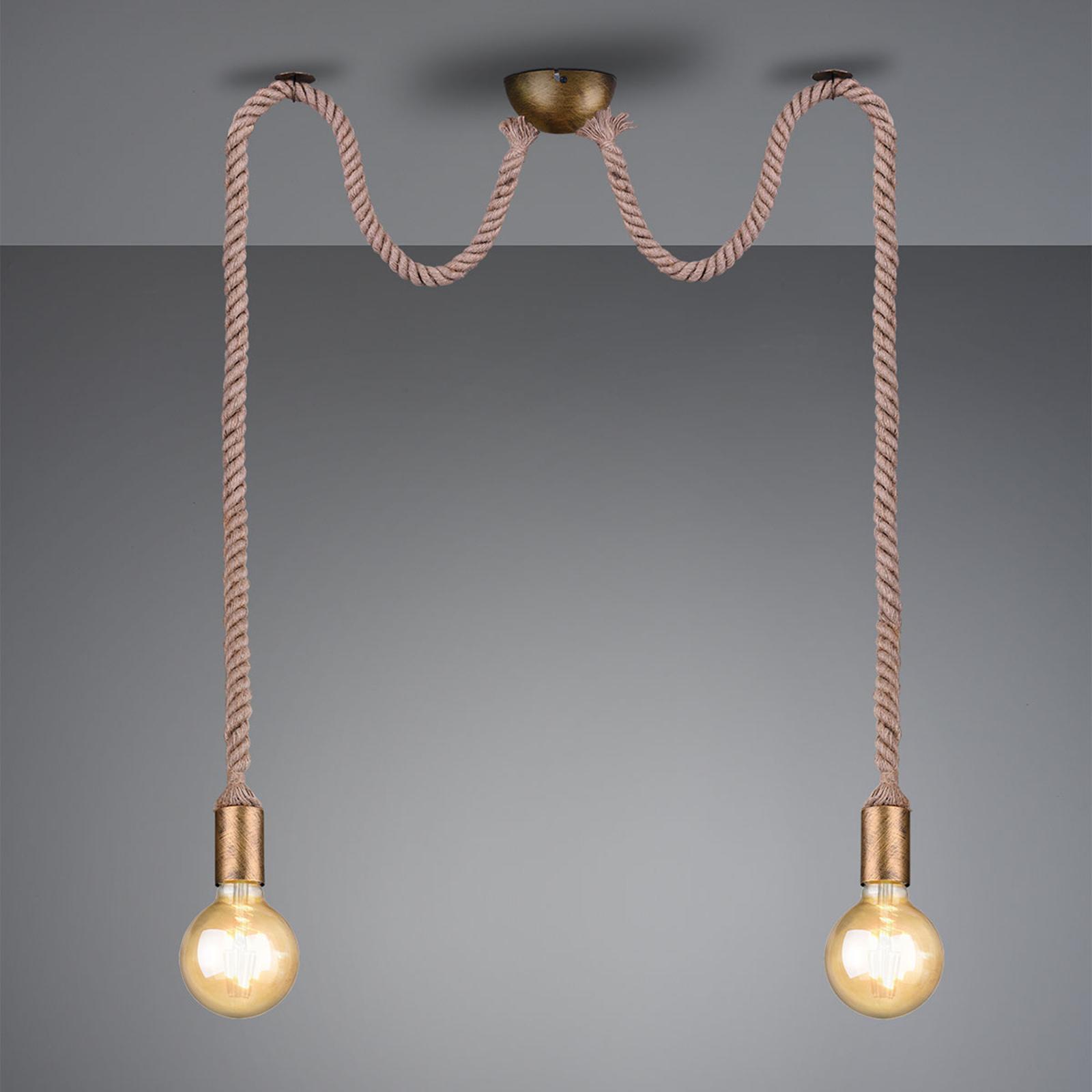 Pendellampa Rope med dekorativt rep 2 lampor