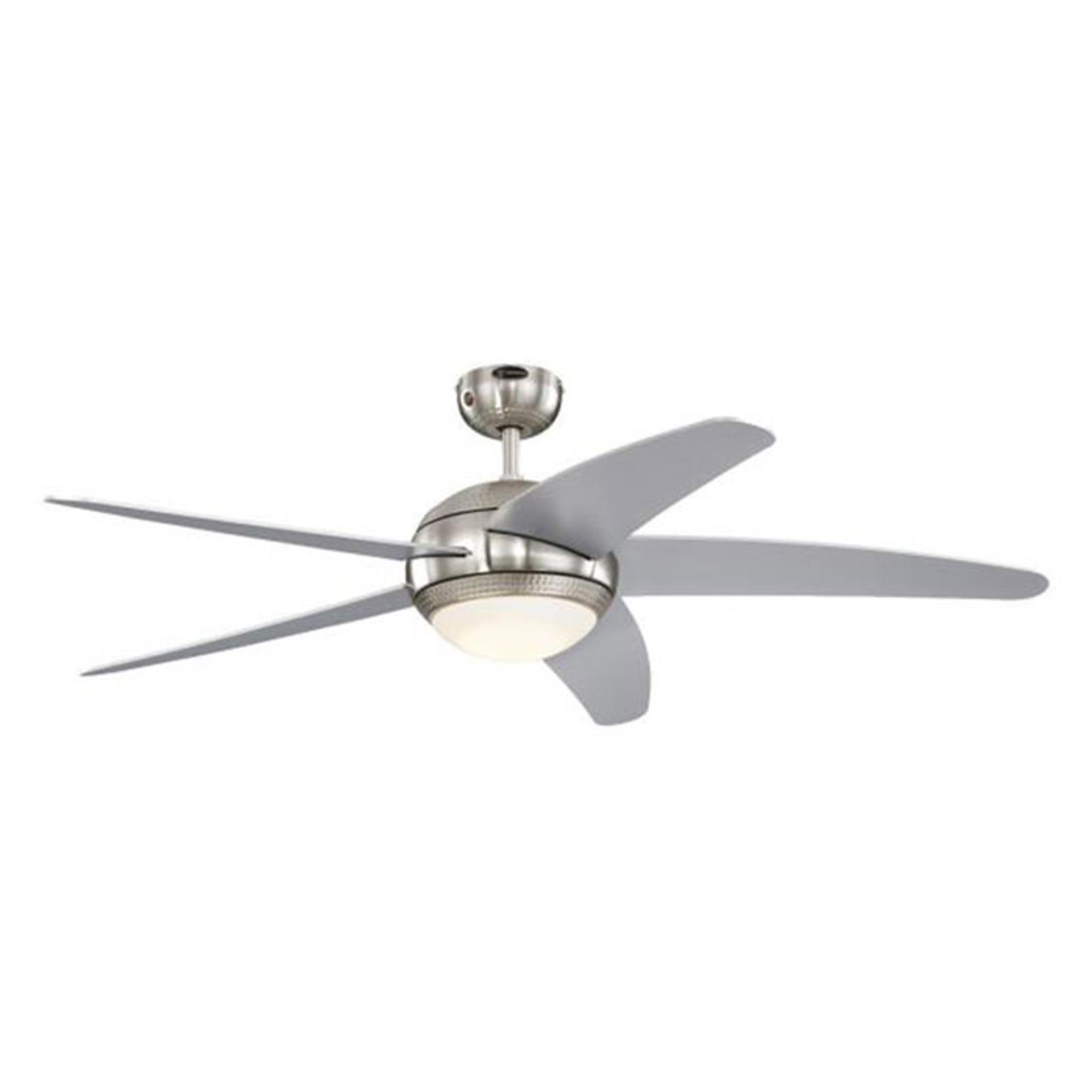 Sølvfarvet vinge - loftventilatoren Bendan LED