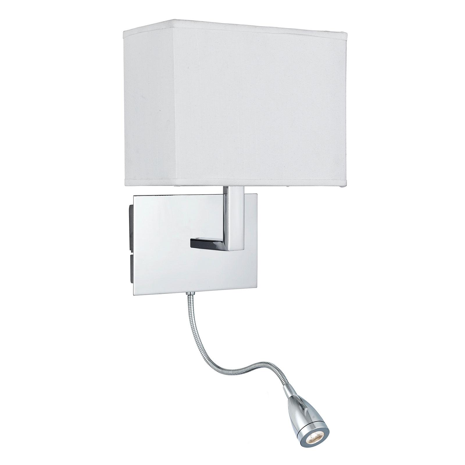 Wandlamp 6519 met LED leeslamp, chroom