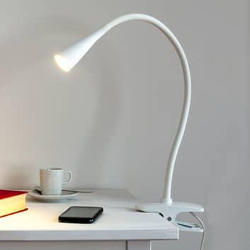 Sottile lampada con morsetto a LED Baris bianca