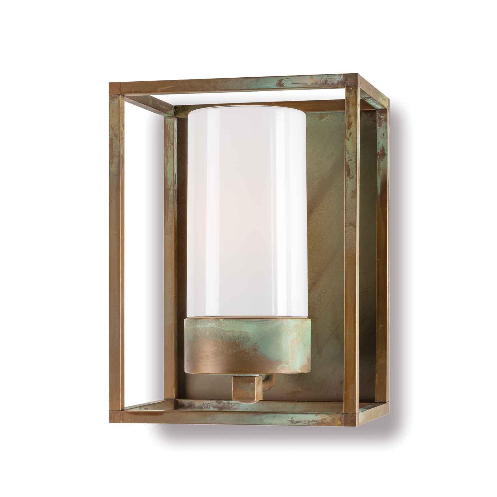 Außenwandleuchte Cubic³ 3366 messing antik/opal