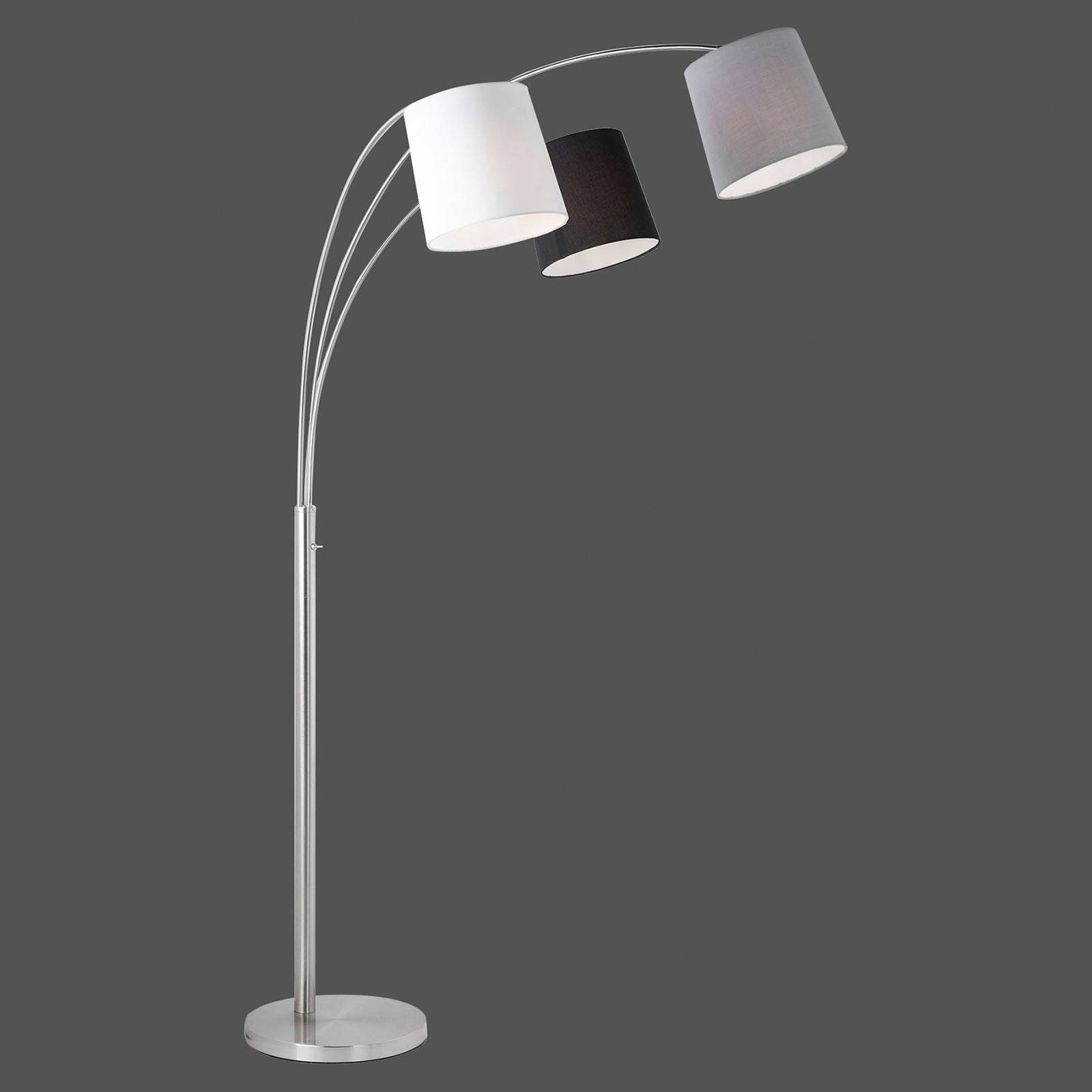 Vloerlamp Melvin, 3-lamps, zwart/grijs/wit