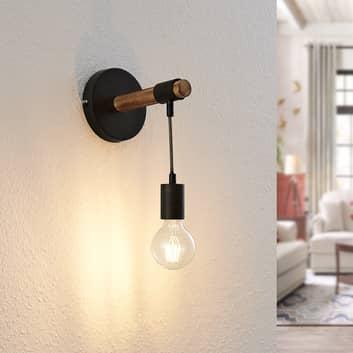Lindby Sibillia wandlamp met hout en fitting