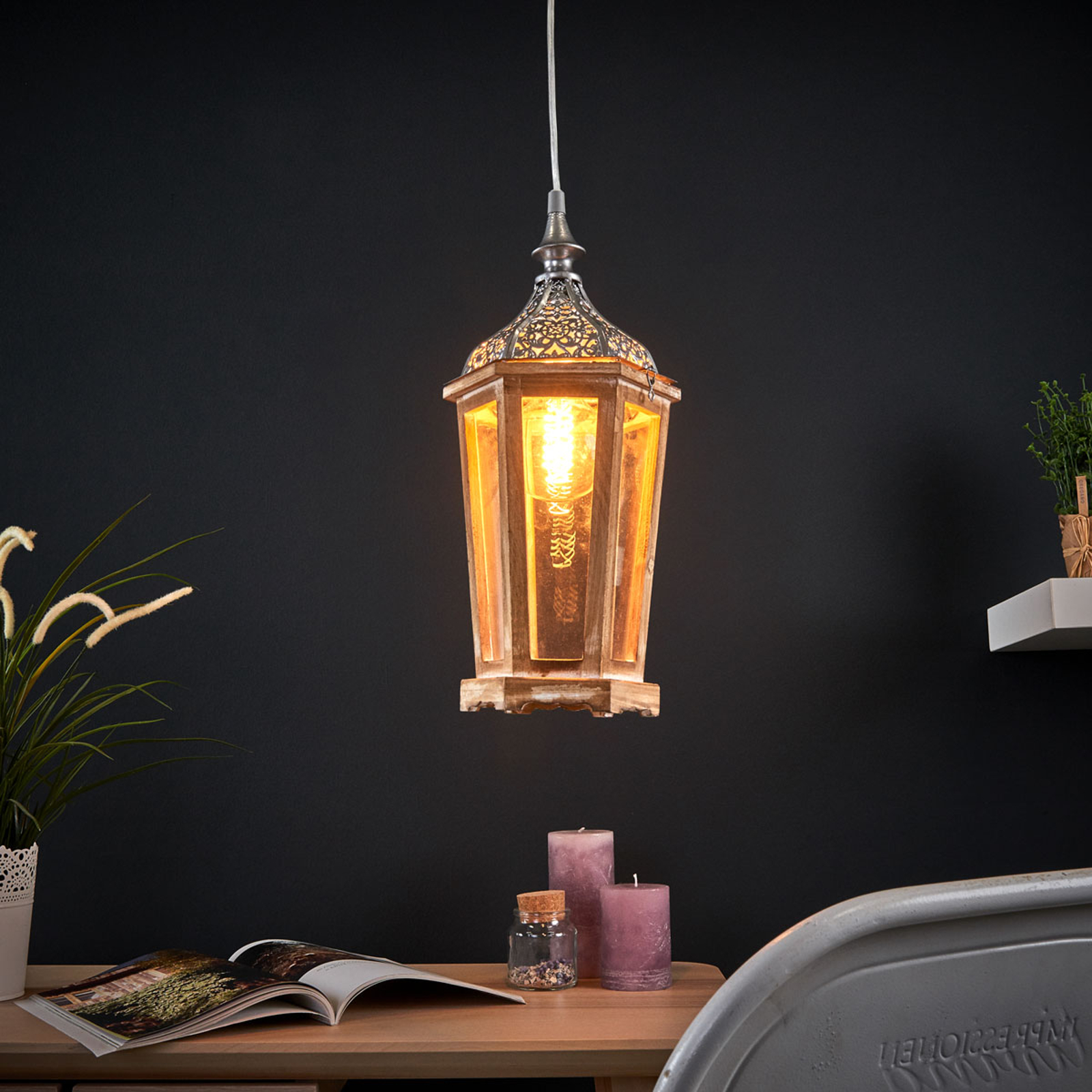 Lámpara colgante de madera Margrit