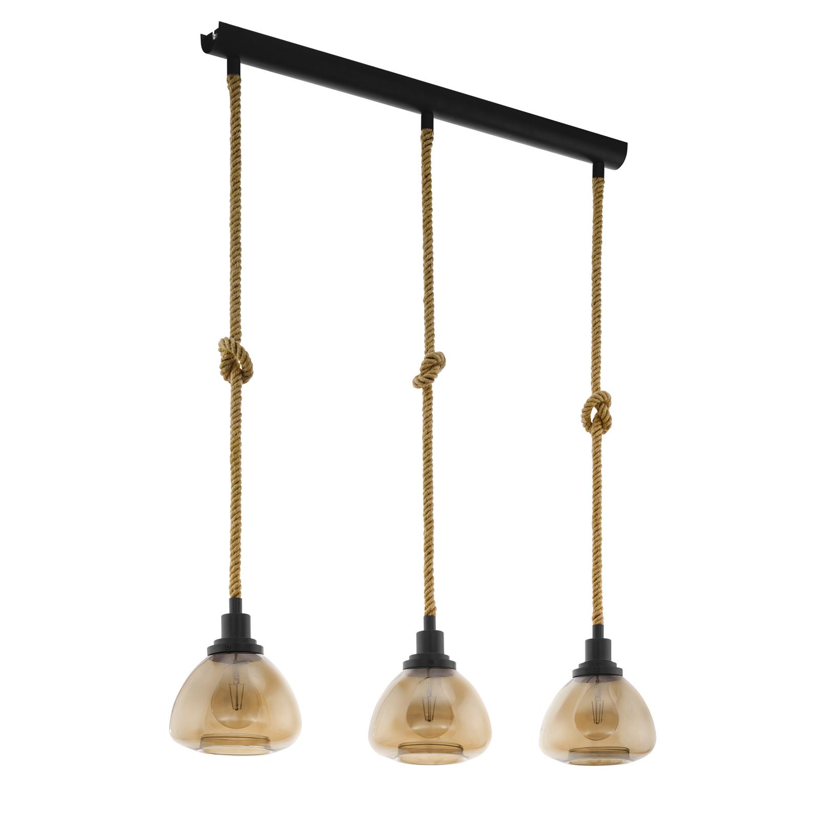 Lámpara colgante Rampside, 3 pantallas de vidrio