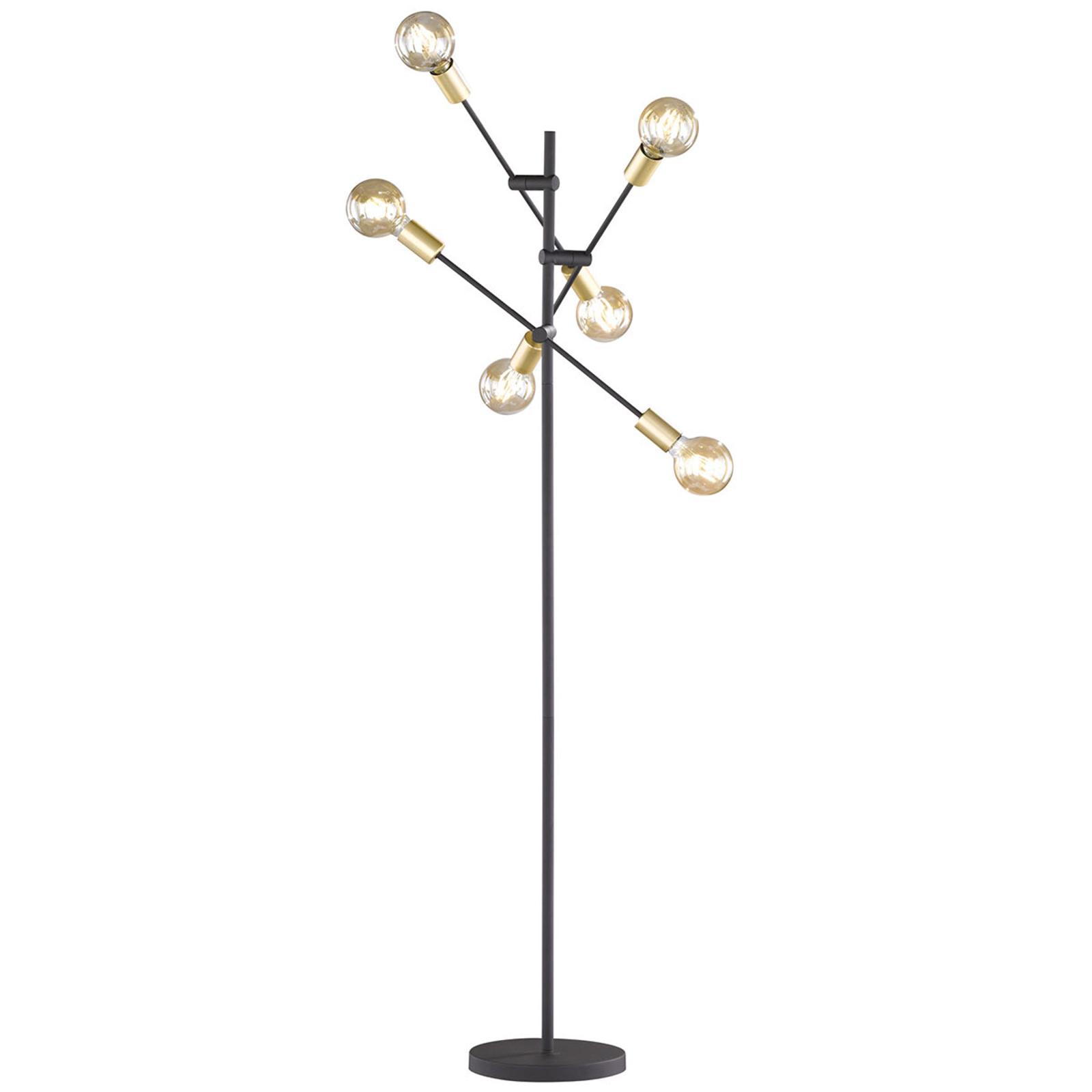 Gulvlampe Cross i trendy sort-gyldent design