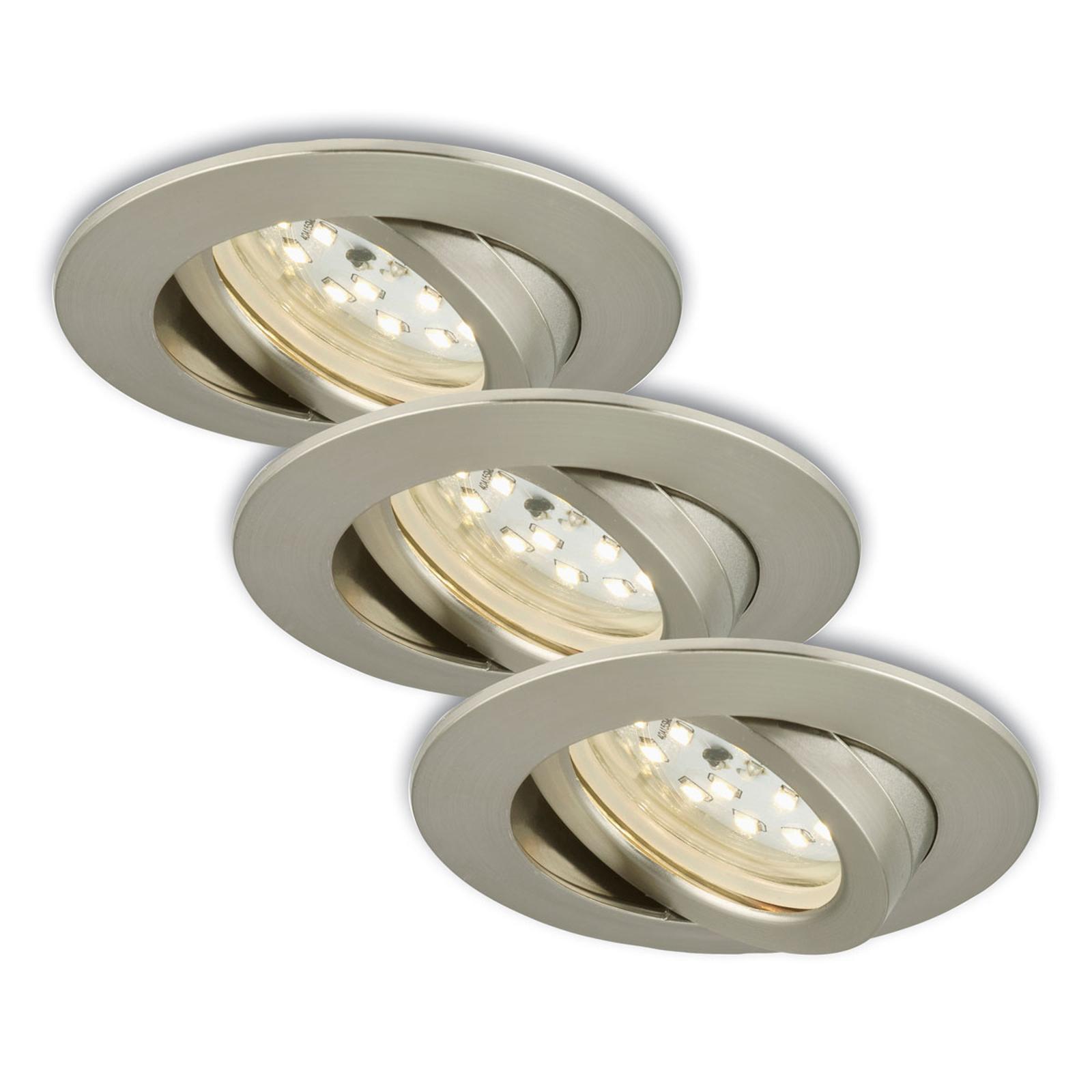 Kierrettävä LED-uppokohdevalo, 3 kpl, mattanikkeli