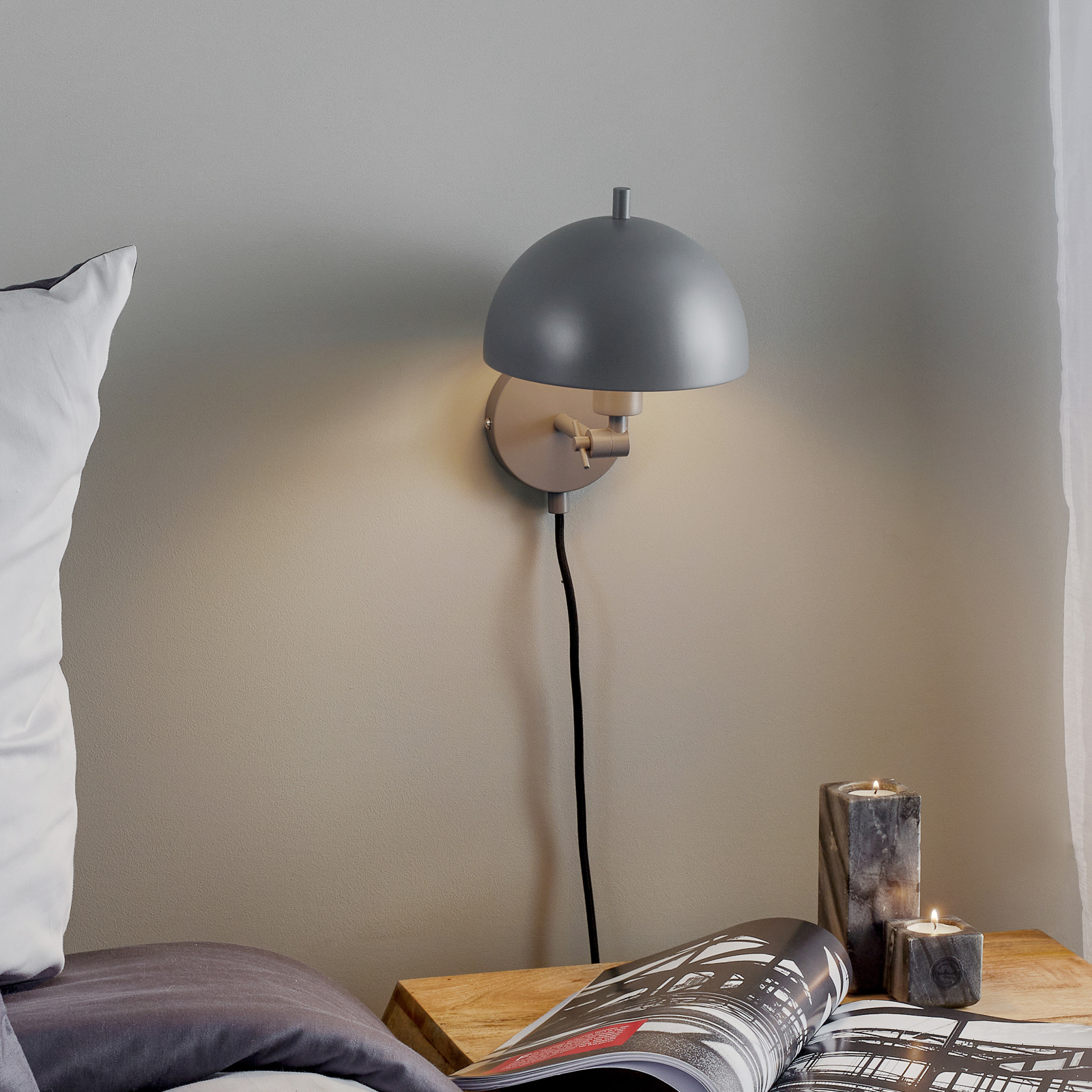 Mooier wonen Kia wandlamp grijs, kantelbaar