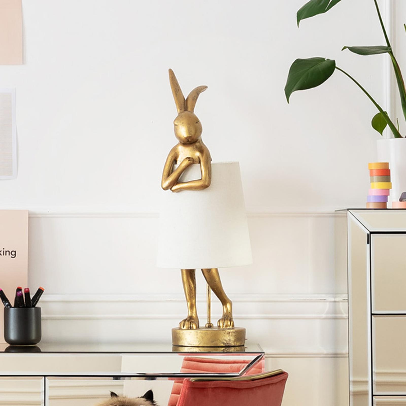 KARE Animal Rabbit lampe à poser dorée/blanche