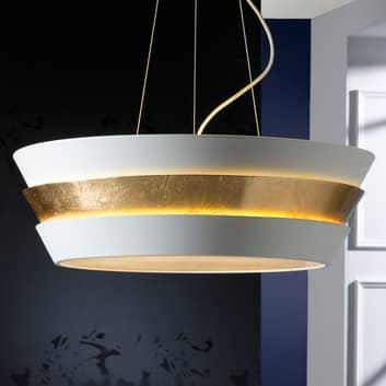 LED závěsné světlo Isis s bílým a zlatým stínidlem