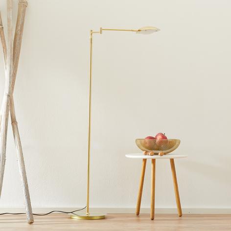 Lámpara de pie LED Calcio, ajustable, latón mate