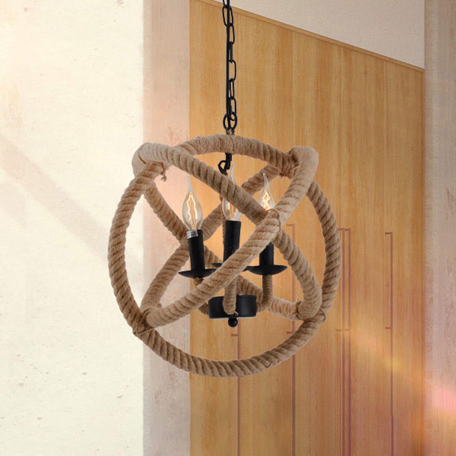 Bolvormige hanglamp Regia van natuurlijk touw