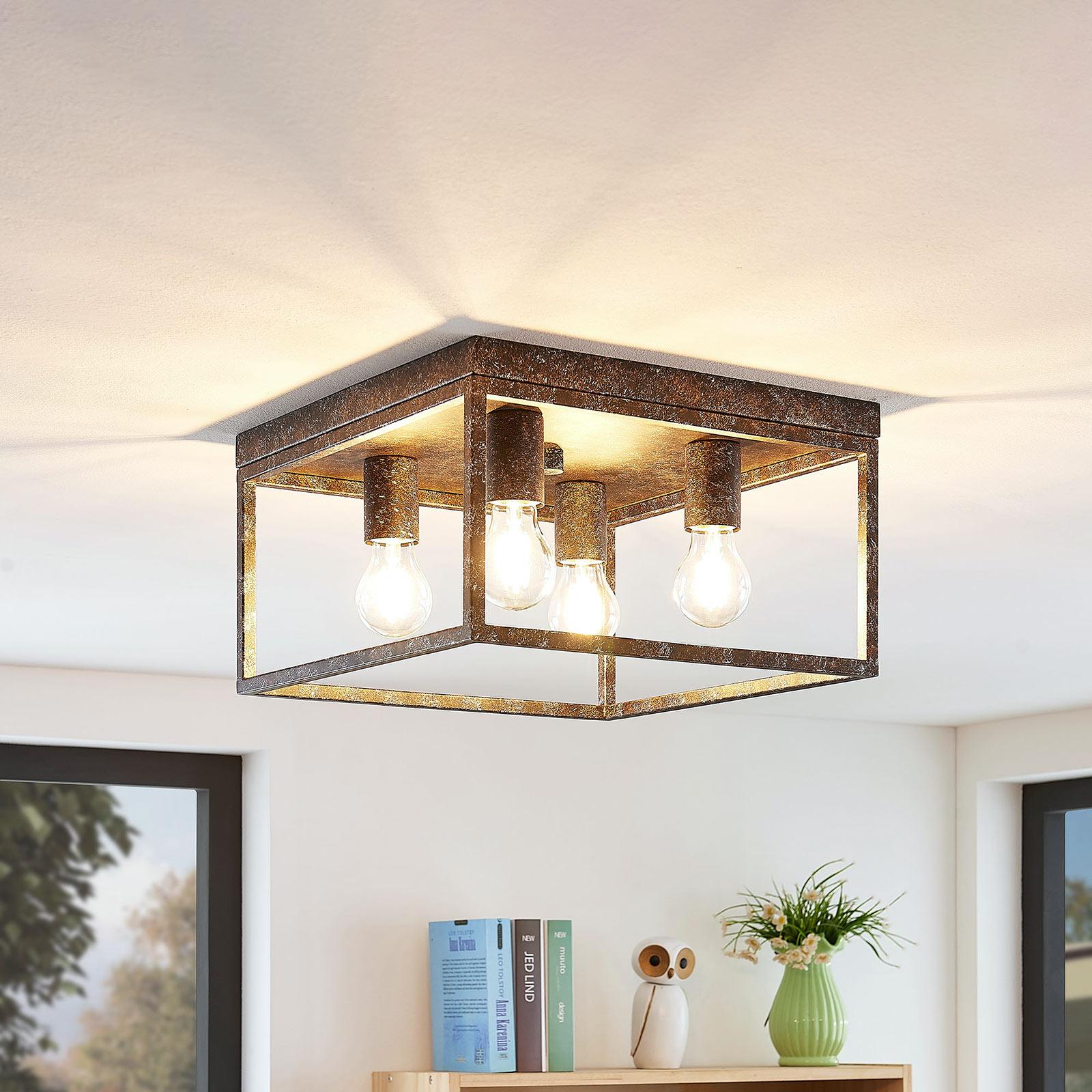 Lindby Lejus taklampa, 4 lampor, rost