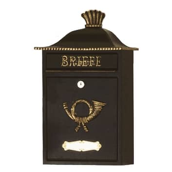 Briefkasten MARENO in Schwarz mit Golddekor