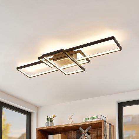 Lindby Emiljan plafonnier LED, noir mat