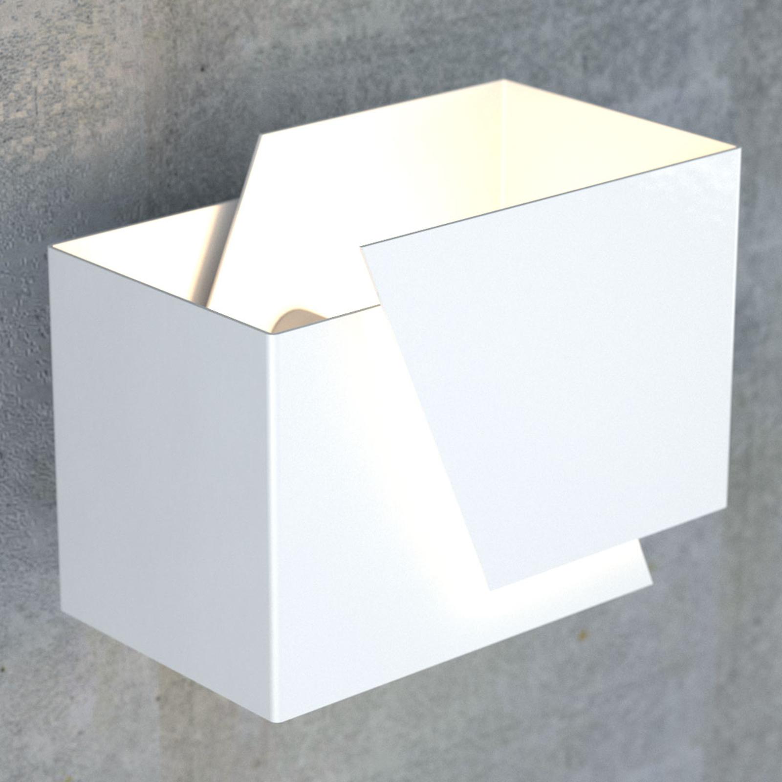Wandlamp Frost in hoekige vorm, wit