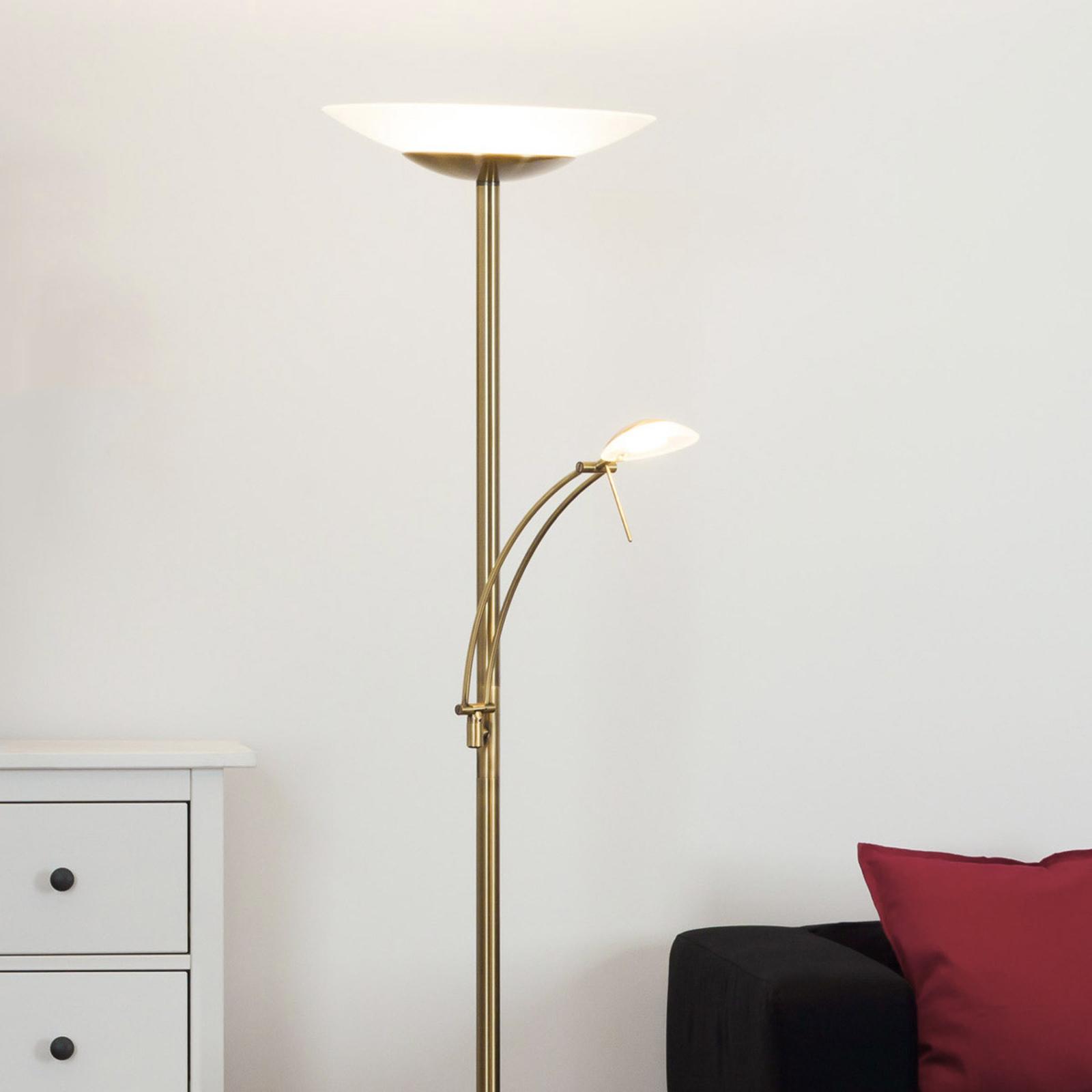 Antikmässingsfärgad LED-golvlampa Ilinca, dimbar
