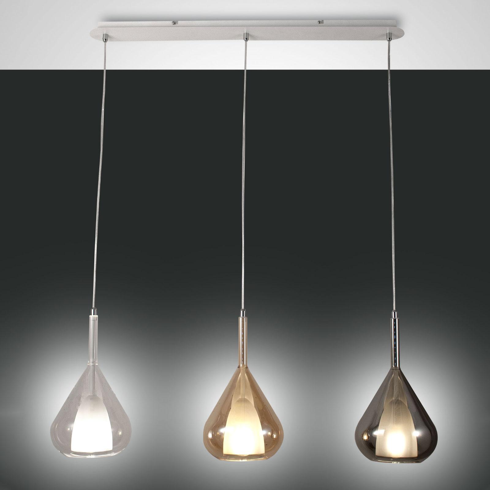 Lampa wisząca Lila ze szkła, 3-punktowa długa