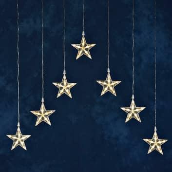 Cortina de luces LED con 7 estrellas blanco cálido