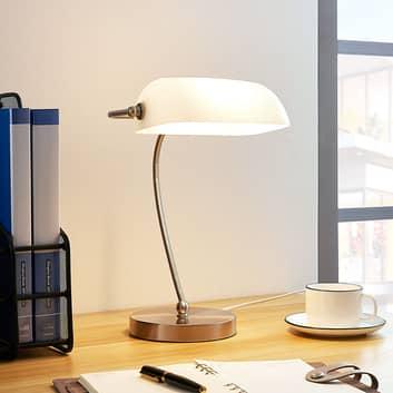 Bankerlampe Selea mit weißem Glasschirm