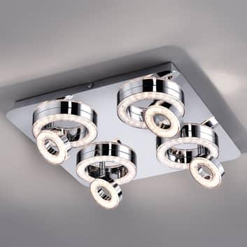 Kvadratisk LED-taklampe Tim med 8 ringer