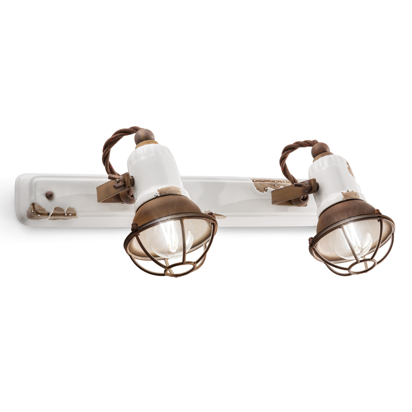 Applique C1676/1 avec corbeille, 2lampes, blanc