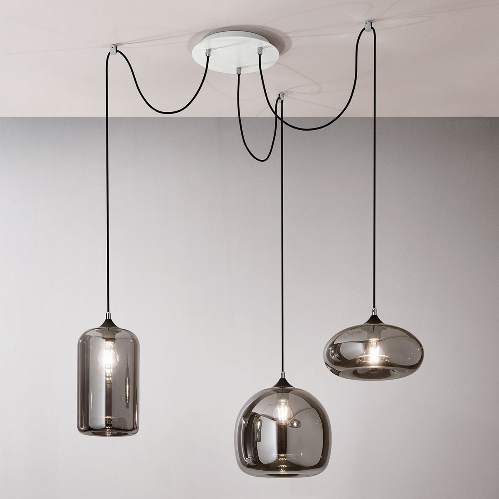 Hanglamp Fiona grijs-transparant