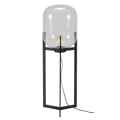 Lampadaire Vetallo - verre transp., argenté ancien