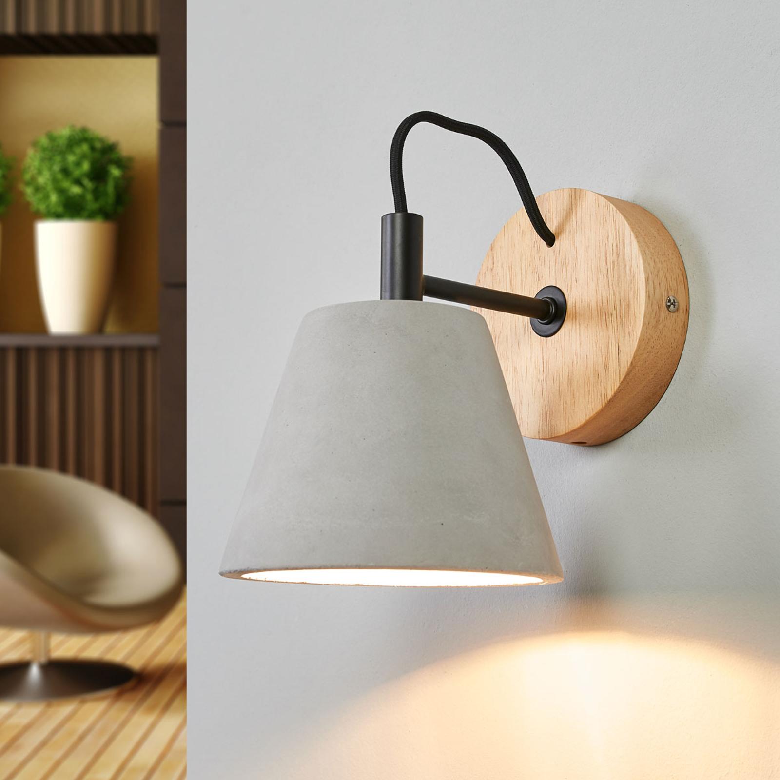 Possio - wandlamp met betonnen kap en hout